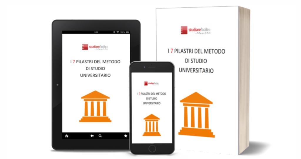 """copertina ebook gratuito """"I 7 pilastri sul metodo di studio universitario"""""""